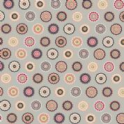 Inprint Folk - 4045 - Stylised Lace Circles - Stone - 8947 S15 - Cotton Fabric